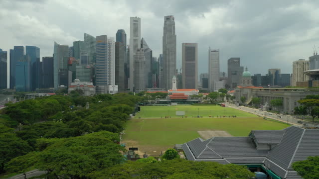 day time singapore city center famous downtown gallery field aerial panorama 4k - supreme court filmów i materiałów b-roll