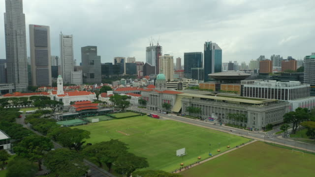 day time singapore city center famous downtown national gallery field aerial panorama 4k - supreme court filmów i materiałów b-roll