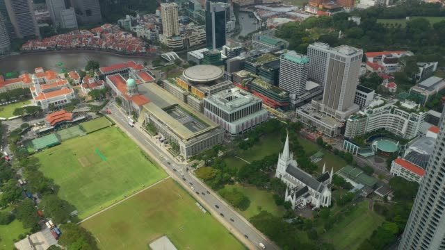 day time singapore city center national gallery aerial panorama 4k - supreme court filmów i materiałów b-roll