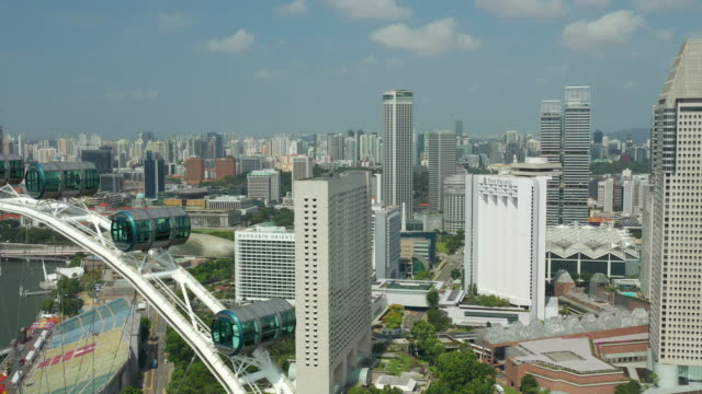 day time singapore famous flyer cabin close up downtown aerial panorama 4k