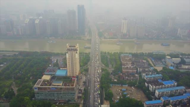 vídeos y material grabado en eventos de stock de día tiempo wuhan ciudad tráfico famoso puente aéreo panorama 4k china - río yangtsé