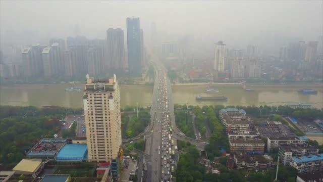 vídeos y material grabado en eventos de stock de día tiempo wuhan ciudad famoso tráfico changjiang puente aéreo panorama 4k china - río yangtsé