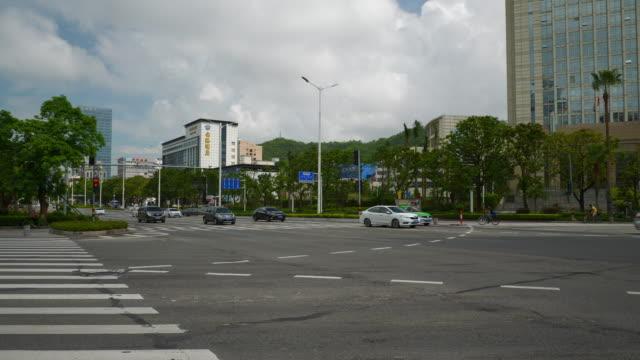 día tiempo zhuhai city tráfico cruce panorama 4k china - vídeo
