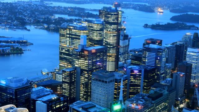Dag tot nacht Aerial timelapse van Sydney, Australië skyline video