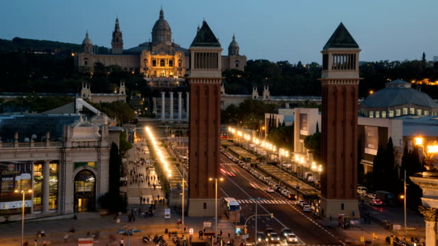 Day to Night  T/L at Plaza Espana, Barcelona, Spain video