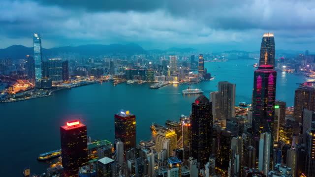 dag till natt hyperlapse av hong kong urban skyline - high dynamic range imaging bildbanksvideor och videomaterial från bakom kulisserna