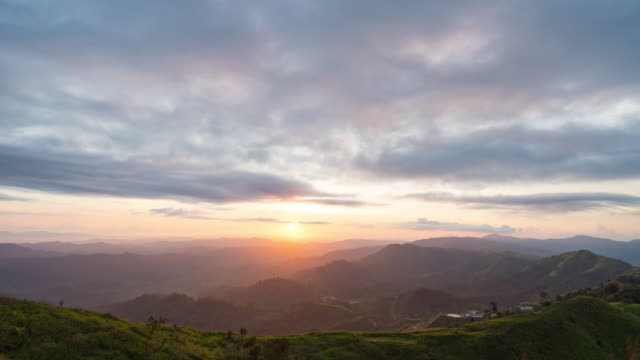 Day to Night Shot: Sunset over Mountains with Cloudy Sky, Time Lapse Video