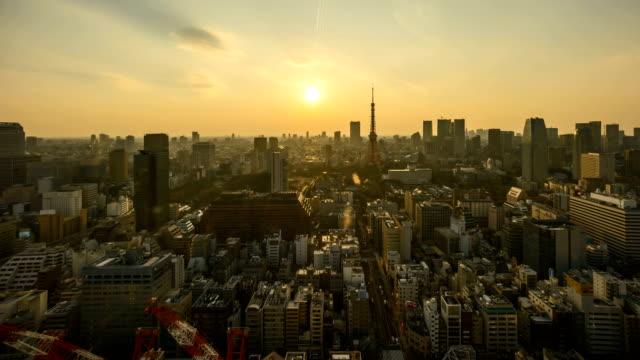 東京市夕日夜景の日 - 夜明け点の映像素材/bロール
