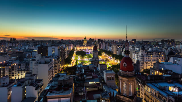 Day to Night Time Lapse of Argentinian Parliament Building with Buenos Aires Cityscape