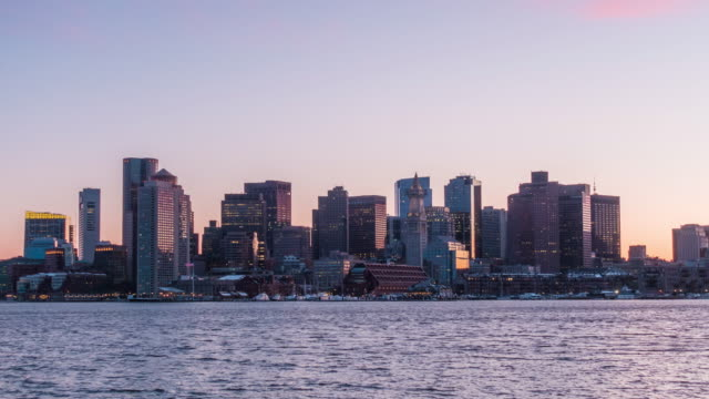 Day to night time lapse of Boston harbor skyline video
