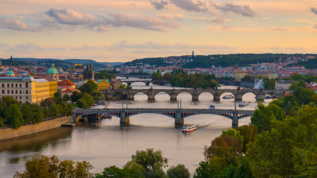 Day to night Time Lapse of Charles bridge and the Vltava River Flowing Through Prague, Czech Republic