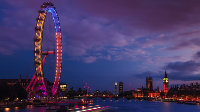 Day to night time lapse of City of Westminster , London, UK video