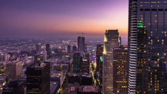 Day to Night Time Lapse of Downtown Los Angeles