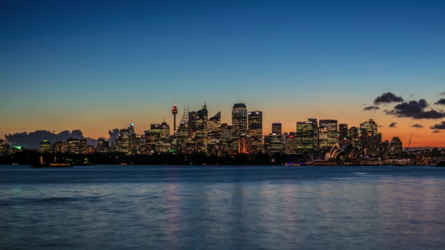 Day to night time lapse of downtown Sydney
