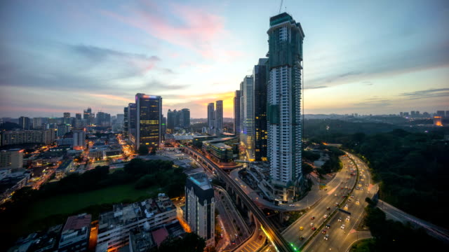 Day to night time lapse of Kuala Lumpur downtown scene. video