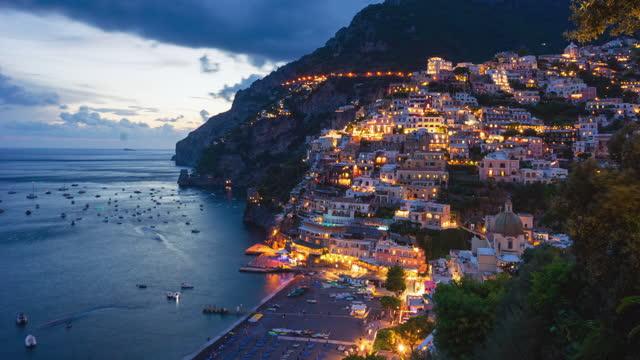 Day to night time lapse of Positano, Amalfi Coast, Italy