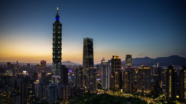 Day to Night Time Lapse of Taipei from Elephant Mountain