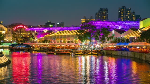 Day to Night Time Lapse, Tour Boats on Clarke Quay Jetty, Singapore Day to Night Time Lapse, Tour Boats on Clarke Quay Jetty, Singapore singapore architecture stock videos & royalty-free footage