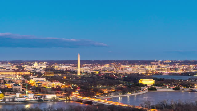 Day to Night Time-lapse: Aerial view of Washington DC National Mall USA at sunset twilight
