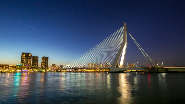 4K day to night time-lapse: Erasmus bridge Rotterdam, Netherlands video