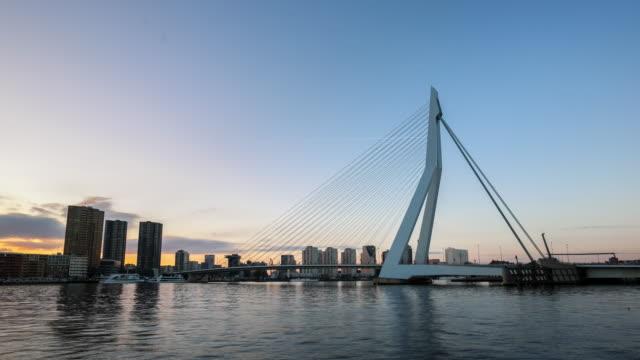 day to night time-lapse: erasmus bridge rotterdam, netherlands - rotterdam video stock e b–roll