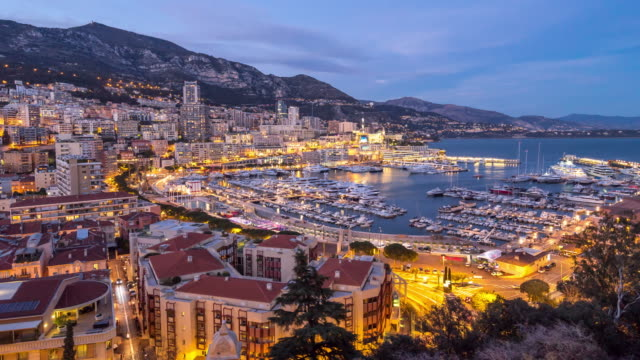 Day to Night Time-lapse: Monaco Monte Carlo french riviera 4K Day to Night Time-lapse: Monaco Monte Carlo french riviera, Apple ProRes 422 (HQ) 3840x2160 Format monte carlo stock videos & royalty-free footage