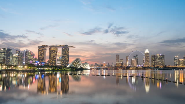 Day to Night Time-lapse of singapore City, 4K(UHD) video