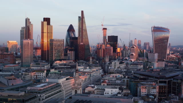 Day to night time-lapse of the business district of London