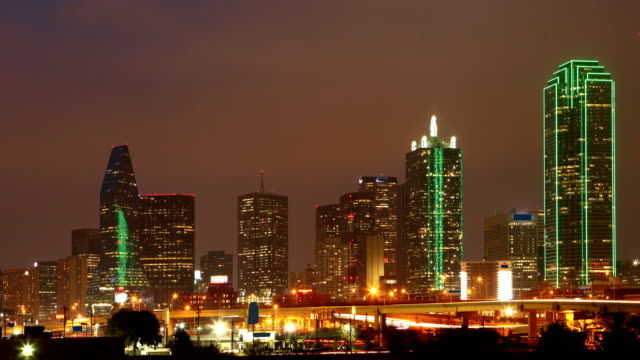 Day to night timelapse of the Dallas city cente