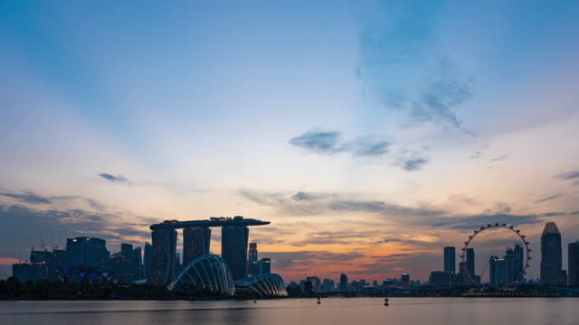 Day to Night Timelapse of travel modern city singapore video