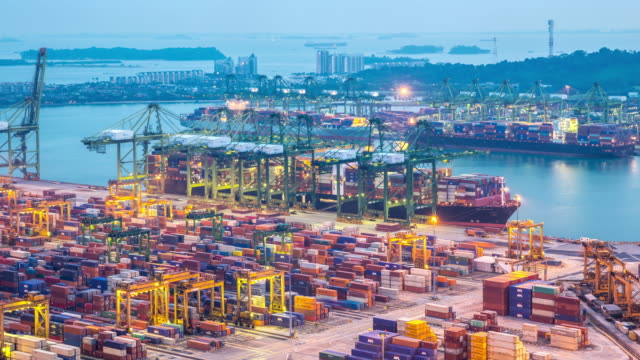 4K Day to Night time-lapse: Singapore aerial warehouse Port background video