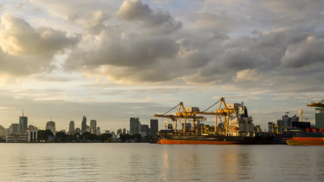 day to night TL: stacking container port belong to Bangkok city video