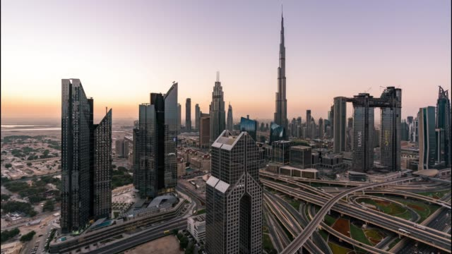Day to night/Time Lapse Dubai Skyline at sunset / Dubai, UAE