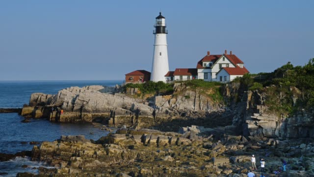 Day View of Portland Head Lighthouse in Portland Maine video