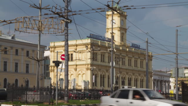 Russia. Moscow - 2013: 4K TL Day view of the Leningradsky Railway Terminal video