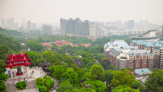 day wuhan yellow crane red gate bell rooftop temple park panorama 4k time lapse china video