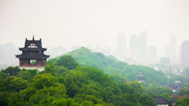 day wuhan yellow crane red gate bell temple park cityscape panorama 4k time lapse china video