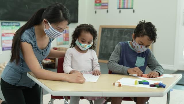 vídeos y material grabado en eventos de stock de estudiantes de guardería que usan máscaras mientras colorean - cuidado infantil