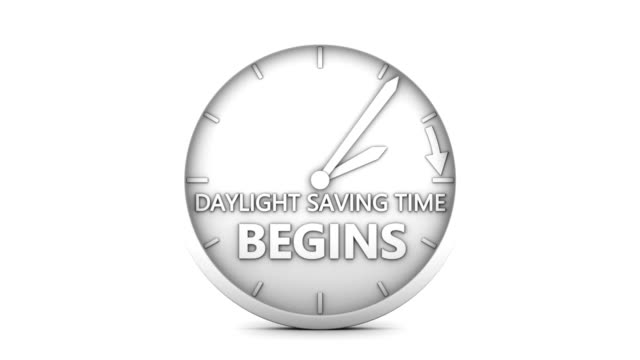 daylight saving time time change to daylight saving time on white background. 3d render. daylight savings stock videos & royalty-free footage