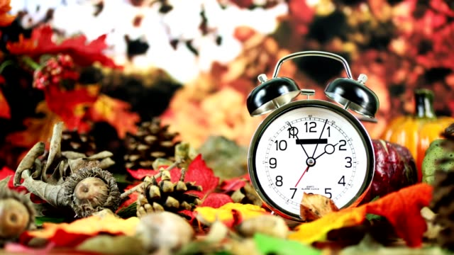 Daylight savings time.  2 o'clock time on clock in autumn season. It's daylight savings time.  The alarm clock is set for 2 o'clock am on an outdoor table with autumn trees, leaves in background.  Copy space at side.  Time lapse clock runs for about 10 minutes as it nears 2 am for time change. daylight savings stock videos & royalty-free footage