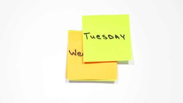 days of week on stickers - attività del fine settimana video stock e b–roll