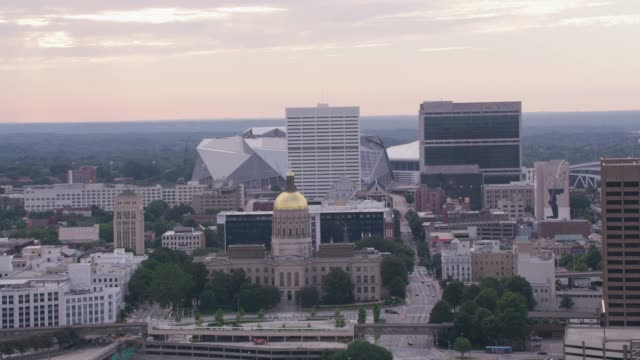 Daytime aerial shot of downtown Atlanta and Capitol Building. video