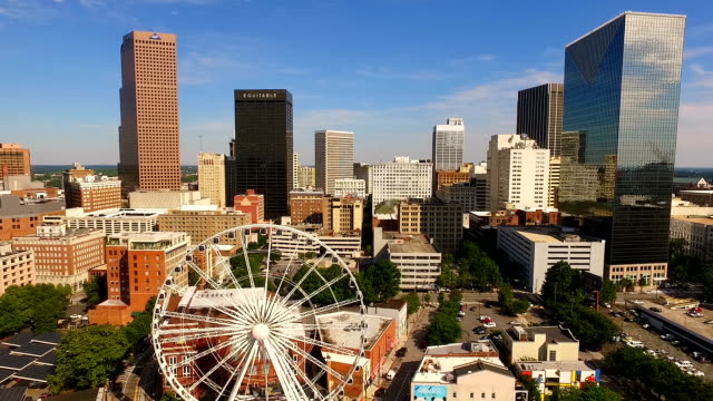 Daytime Blue Skies Downtown Atlanta Ferris Wheel video