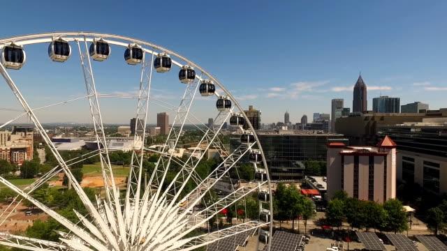 Daytime Blue Skies Downtown Atlanta Ferris Wheel - video