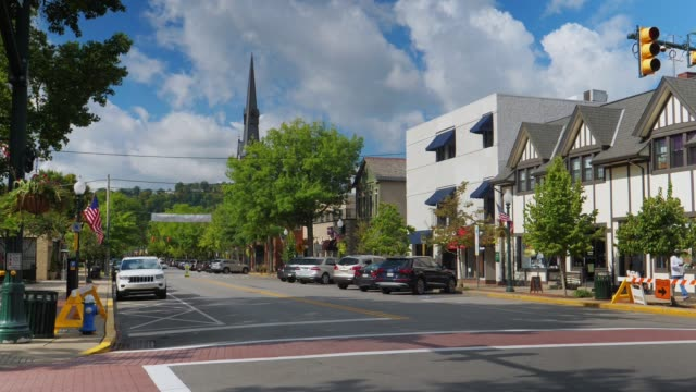 Daytime Establishing Shot Business District in Small Town USA