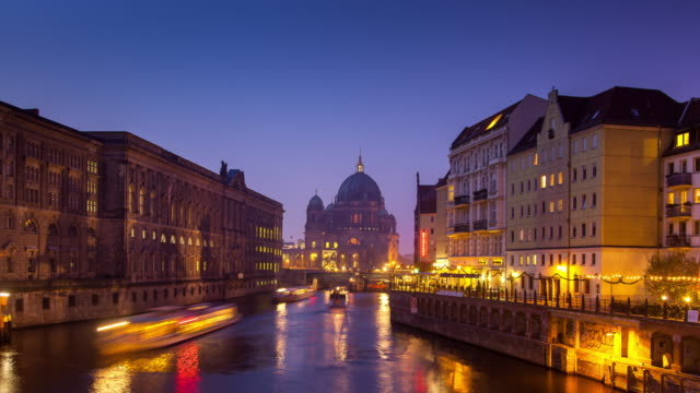 Day-to-Night Time Lapse of Berlin Cathedral and River Spree