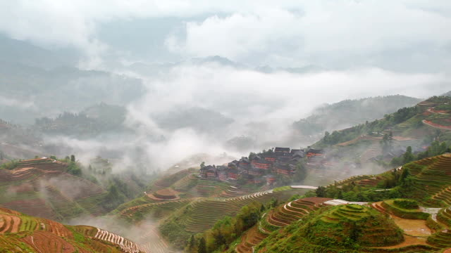 dazhai terrassenfeld - longji tetian stock-videos und b-roll-filmmaterial