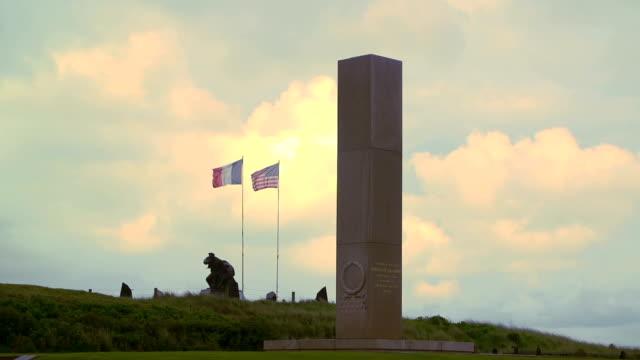 D-day Utah beach Uta Beach Normandy France. D-day Utah beach. Monument to the US Navy. normandy stock videos & royalty-free footage