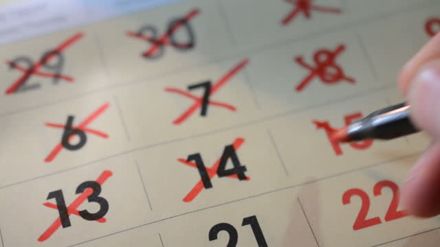 deadline concept with red mark on calendar date video