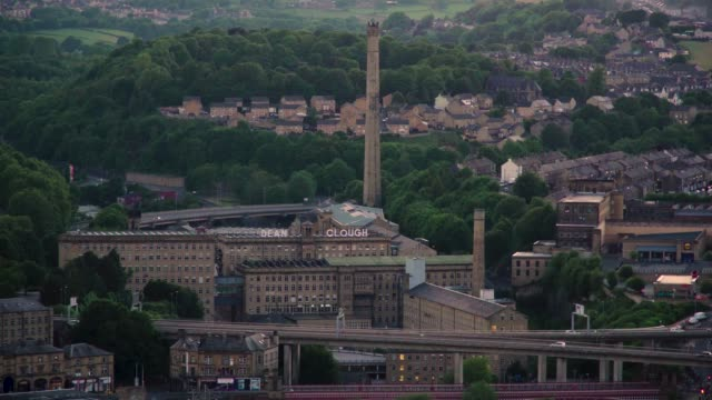 Dean Clough Mill - Halifax Dean Clough Mill from Beacon Hill, Halifax - West Yorkshire. victorian architecture stock videos & royalty-free footage
